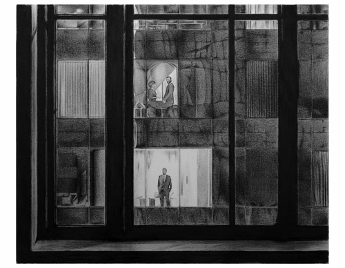 'WINDOWS 2 WINDOWS' / CHARCOAL ON CANVAS / 40 X 48 IN.